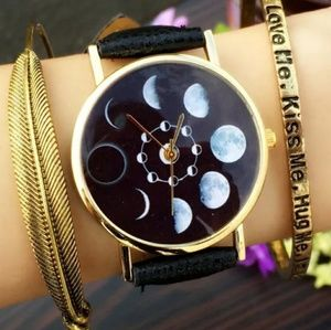Accessories - Moon Phases Gold & Black Watch